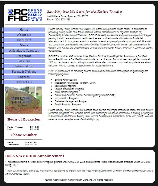 An Image of RCFHC's Website